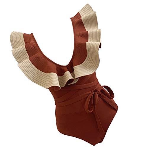 Abaodam 1 maillot de bain à volants pour femme 1 pièce