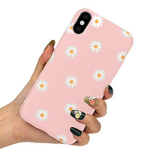 LLZ.COQUE for iPhone X iPhone Xs Case Cute Daisy Flowers Case Shockproof Flexible Silicone Cover Slim Fit Cute Floral Print Bumper Protective Matte Case for iPhone X iPhone Xs, Pink