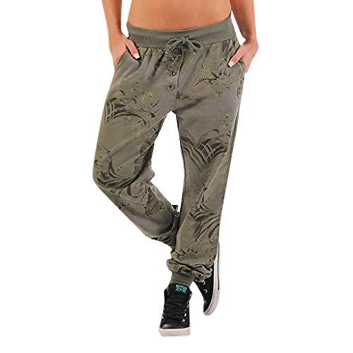Relax Fit-Hosenhose Damen Jeans Stoffhose Baggy Pluderhose Alternative Bekleidung – Sommer Haremshose aus Baumwolle super elastischem Bund Sweat Hose Mit Taschen Nieten, Jogginghose Sommermode Große