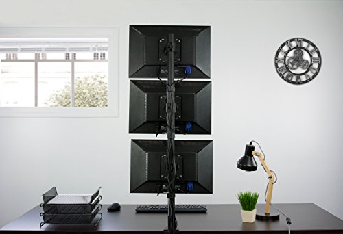 VIVO Triple LCD Monitor Desk Stand, Desktop Mount, Stacked Vertical 3 Screens up to 27 inches (STAND-V003V) Photo #3