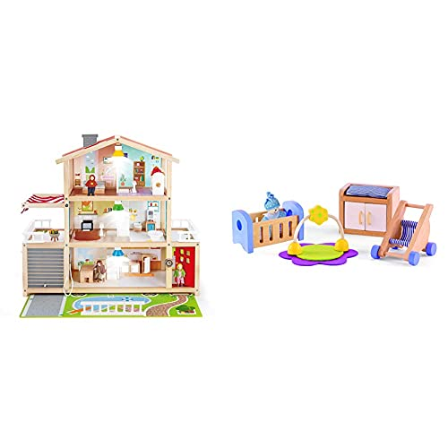 Hape E3405 - Puppen-Villa, Puppenhaus mit Zubehör, aus Holz & E3459 - Babyzimmer