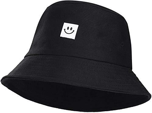 Verano Sombrero de Cubo Pescador Plegable Sombreros Sonriente Impresión Sonrisa Cara Sombrero de Sol de Playa Sombrero del Pescador(56-58cm, Adulto)