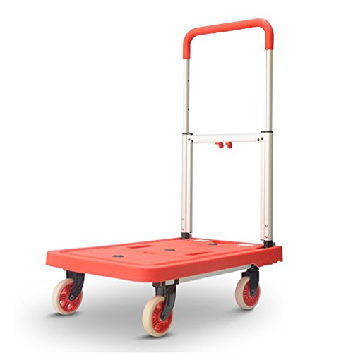 AICN_Rollwagen Faltender Laufkatzen-stummer tragbarer Pull-LKW, der König Van Household Four Wheel Flat Cart Hand Truck lädt (Farbe : Rot)
