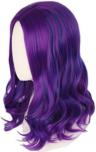 YBINGA Peluca púrpura y azul para disfraz de Halloween, peluca para niñas y niños (color para niños) peluca frontal de encaje
