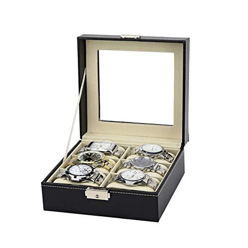 SAMYUE Vrouw Horloge Box Sieraden Opbergdoos Organizer Pu Lederen 6 Slots Dubbele Rij Glas Raam Grote Capaciteit Draagbare Multi-Functionele Duurzame Multifunctionele Opslag