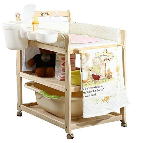 sxtylqq Verplaatsbare pasgeboren wieg luier tafel baby multifunctionele bad zorg tafel veranderen tafel massief hout baby Touch tafel massage bed met wielen
