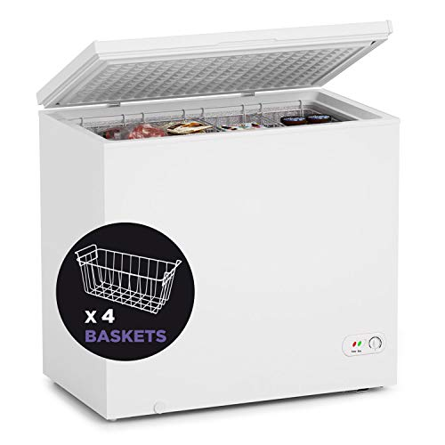 Northair Chest Freezer - 7 Cu Ft with 4 Removable Baskets - Reach In Freezer Chest - Quiet Compact Freezer - 7 Temperature Settings - White