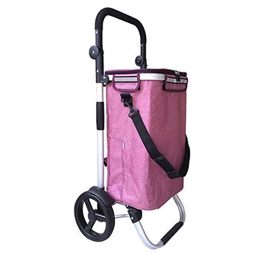 L.TSA Shopping Bags Outdoor Leichter Faltbarer Einkaufstrolley aus Aluminiumlegierung |Warenkorb |Reisewagen Lebensmittelwagen Trolley 2 Größer Verschleißfestes Rad Zusammenklappbare Sch