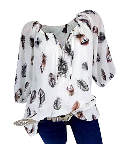 Minetom Damen Sommer Elegant Kurzarm Bluse Mit V-Ausschnitt Feder Drucken Blusenshirt Oversize Tunika Hemdbluse Tops C Weiß L