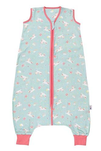 Schlummersack Baby Schlafsack mit Füßen Sommer 0.2 Tog 100 cm dünn Einhorn | Schlafsack mit Beinen ungefüttert für eine Körpergröße von 100-110cm | Schlafsack Baby Sommer Bambus Musselin