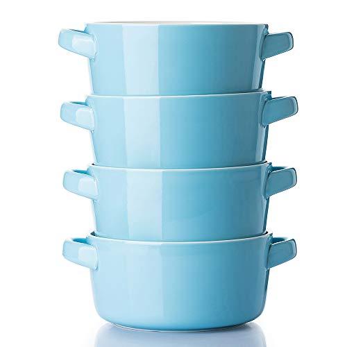 DOWAN cuencos de porcelana con asas, 24 onzas para sopa, cereales, estofado, frío, juego de 4, azul lago
