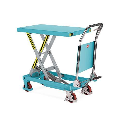Ameise Scheren-Hubtischwagen LTT 0.3 mit Einfach-Schere   klappbarer Bügel   fahrbarer Hubtisch mit 300 kg Tragkraft   850 x 500 mm Plattform   Hubbereich 285 – 880 mm   hydraulisch