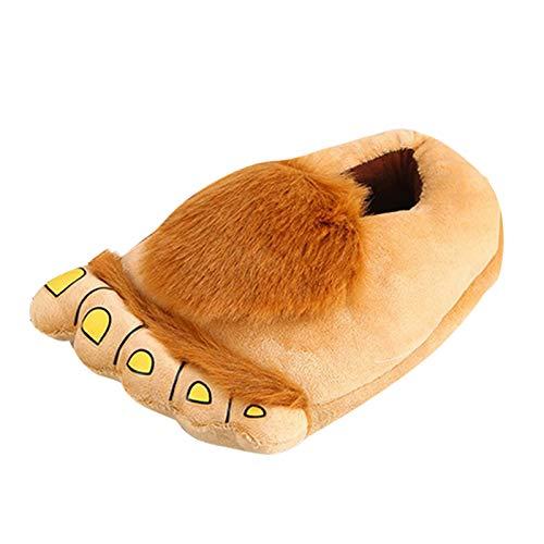 SM SunniMix Zapatillas de casa abrigadas de invierno interior Monster Adventure Hobbit Furry zapatillas para adultos