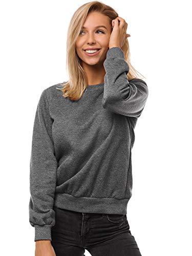 OZONEE Damen Sweatshirt Pullover Langarm Farbvarianten Langarmshirt Pulli ohne Kapuze Baumwolle Baumwollmischung Classic Basic Rundhals-Ausschnitt Sport JS/W01 DUNKELGRAU M