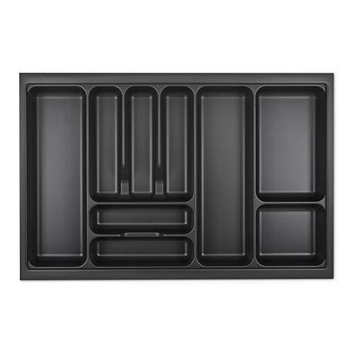 Orga-Box I Besteckeinsatz 719 x 473 lavagrau mit Perlstruktur für Blum Tandembox Antaro/Intivo u. ModernBox im 80er Schrank Besteckaufbewahrung
