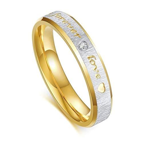 YDMZMS Ehering für Herren aus Edelstahl, zweifarbig, Forever Love mit CZ 6 mm, Women, 9