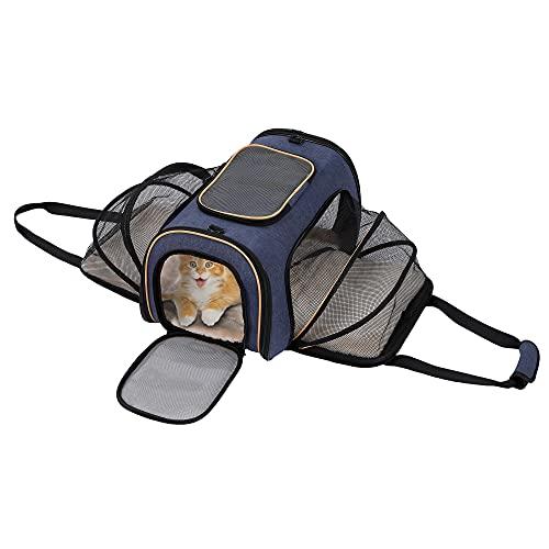 Iokheira Transporttasche Katze und Kleine Hunde,erweiterbar Transportbox Oben zu öffnen, Faltbare, groß, mit Weiches Fleece-Bett für Haustiere,Passend für Transport mit Zug/Auto/Flugzeug
