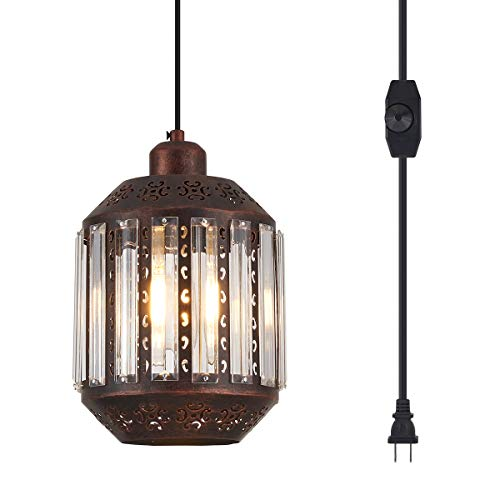 YLONG-ZS Hanging Lamps Swag Lights Plug in Pendant Light 16.4 FT Cord and Chain/Hanging Pendant...