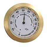 Hygromètre analogique en laiton Cigare Tabac Jauge d'humidité et lentille en verre pour humidificateurs Jauge sensible à l'humidité et (couleur: or)