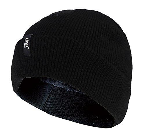 Heat Holders - Homme thermique molleton doublé Retournez À Brassard chapeau hiver 3.4 ens à l'end - Taille Unique - Noir (Cuff hat)