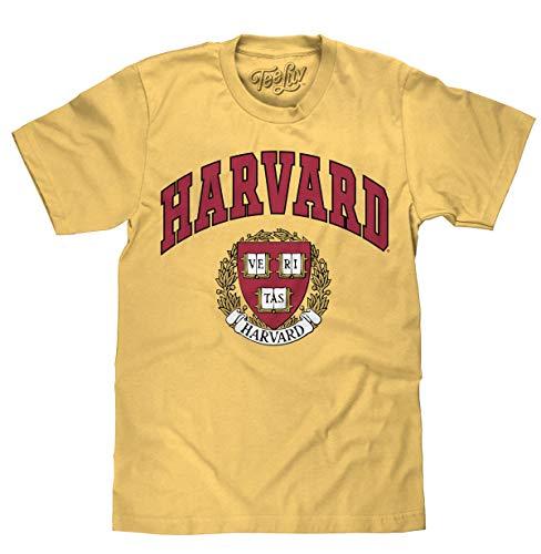 Tee Luv Harvard University Shirt - Harvard Veritas College Shield T-Shirt (Mustard) (XXL)