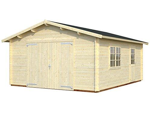 Palmako Blockbohlen-Garage Roger 23,9 natur 44 mm mit Holztor