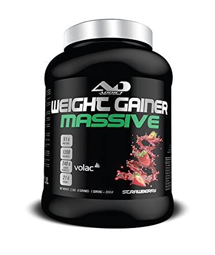 Protéine masse musculaire - Multivitamines muscluation - Prise de poids - Whey Protéine - Weight Gainer Massive - 2,5 Kilos - Gout Strawberry Addict Sport Nutrition