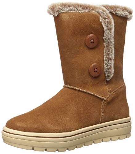 Skechers Women's Street Cleats-Tall Double Button Boot with Fur Trim Fashion, Chestnut, 8.5 M US