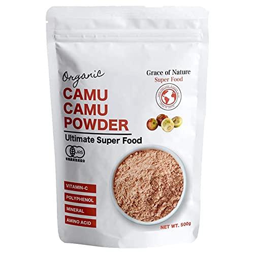 有機 カムカム パウダー オーガニック 粉末 スーパーフード ノンカフェイン ビタミンCサプリ 無添加 無農薬 スムージー・ドリンク・ジュースに有機JAS認証 (500g)