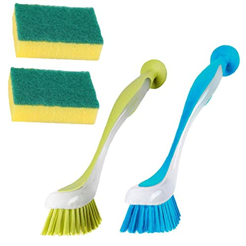 MICHAELA BLAKE Limpieza del depurador del Cepillo para Lavar la vajilla de Cocina Exfoliante Esponja 2 friega el Cepillo para el Plato 2 Esponja 4PCS para los Regalos del día de Madres