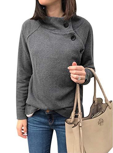 Ajpguot Damen Pullover Langarm Rundhals Sweatshirt Mantel Mode Knöpfen Pulli Jumper Einfarbig Casual Oberteile Tops Herbst Winter (XL, Grau)