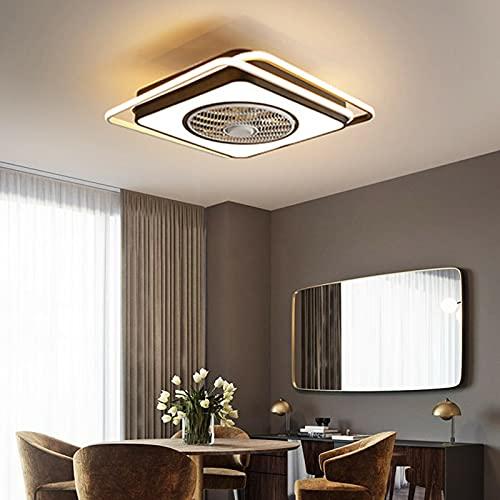 Ventilador de techo moderno de 23 pulgadas, lámpara LED cuadrada con mando a distancia, para salón, 220 V