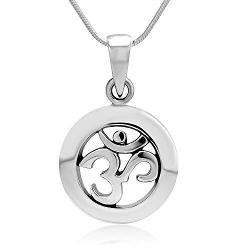SUVANI Sterling Silver Yoga, Aum, Om, Ohm, Sanskrit India Symbol Pendant Necklace, 18 inches