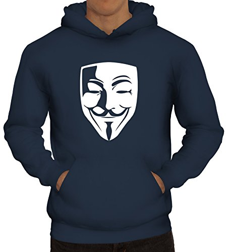 ShirtStreet, Anonymous Maske, Guy Fawkes Vendetta Herren Kapuzen Sweatshirt - Pullover S-3XL, Größe: M,Navy