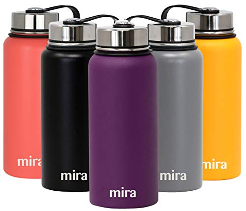 MIRA 32 oz Stainless Steel Vacuum Insulated Wide Mouth Water Bottle - Thermos Keeps Cold for 24 hours, Hot for 12 hours - Double Wall Hydro Travel Flask - Pearl Blue