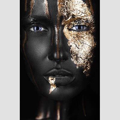 JXMK Belleza de Oro Negro Mujeres africanas Pintura Decorativa sofá de Lujo Fondo Arte de la Pared Lienzo decoración del hogar 40x50 cm
