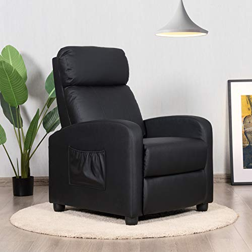 COSTWAY Recliner Armchair with Reclining Function and Adjustable Leg Rest, Upholstered Padded Single Sofa Seat, Home Office Living Room Lounge Chairs for Reading Resting Sleeping (Black)