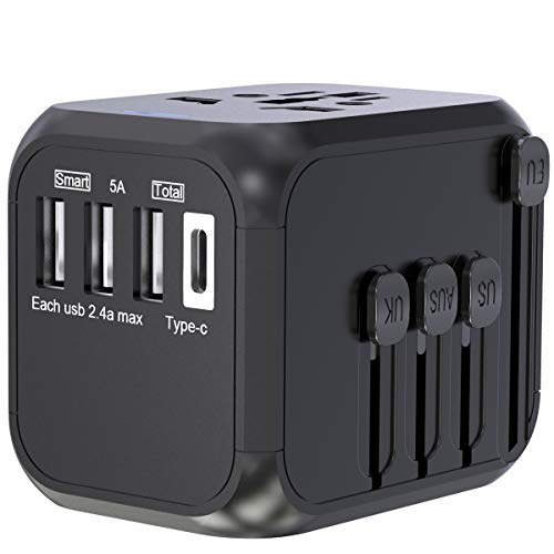 Reiseadapter Reisestecker Weltweit, CHUNNUO All-in-One Universal Travel Adapter Steckenadapter mit 3 USB Ports+Type C und AC Steckdosenadapter für 224+ Ländern Europa UK Australien USA China Japan