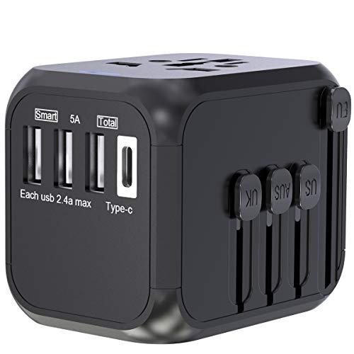 Reiseadapter Reisestecker Weltweit, CHUNNUO All-in-One Universal Travel Adapter Steckenadapter mit 3 USB Ports+Type C und AC Steckdosenadapter für 224+ Ländern Europa UK Australien USA China Japan