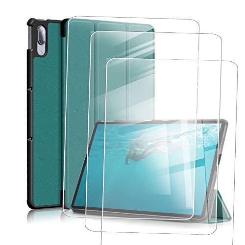 JIENI Funda Lenovo Tab M10 HD (10.1) X306X Funda para Tablet PC (Segunda generación), con función de Reposo y activación/Reposo + 3 película de Vidrio Templado -Verde