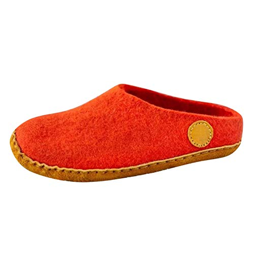 DAIFINEY Damen Hausschuhe Closed Toe Flache Bequem Pantoffeln Kuschelige Home Indoor Outdoor Slippers Freizeit rutschfeste(1-Rot/Red,38)