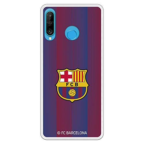 Funda para Huawei P30 Lite Oficial del FC Barcelona - Escudo Franjas para Proteger tu móvil. Carcasa para Huawei de Silicona Flexible con Licencia Oficial de FC Barcelona