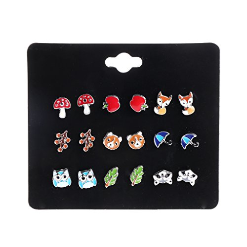 JAGENIE 9 Pairs Cute Small Animal Fruit Fox Butterfly Stud Earrings Set