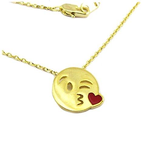 7bis P6956 - Handgemachte halskette 'Emoji' (kuss) gold - 13x12 mm.
