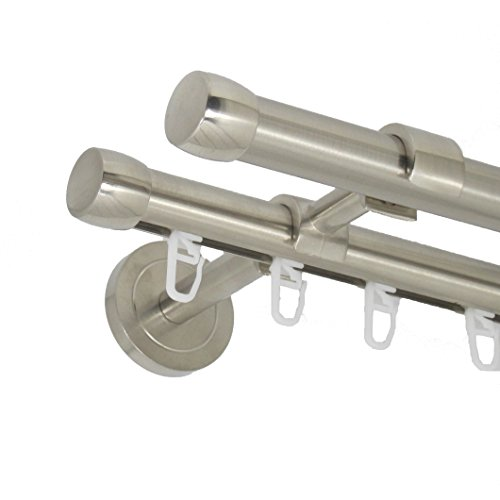 Deko-Team Gardinenstange Endkappe 20mm zweiläufig Wandbefestigung (300 cm)