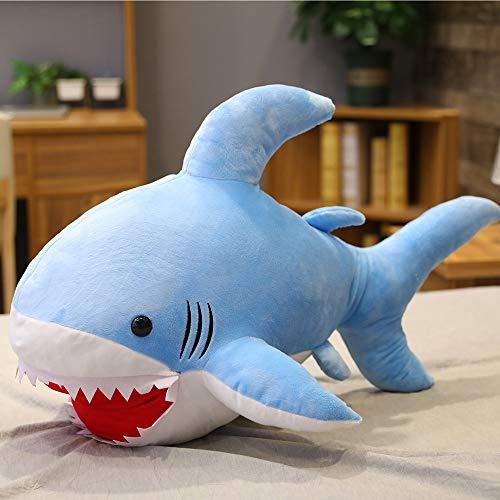 DOUFUZZ SNHPP Muñeca de tiburón se Sienta Almohada Canta para pacificar Juguetes para Dar Regalos 90cm Azul