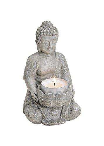 Buddha Figur mit Teelichthalter. Ideal für drinnen und draußen, 14cm hoch aus wiederstandsfähigem Polyresin