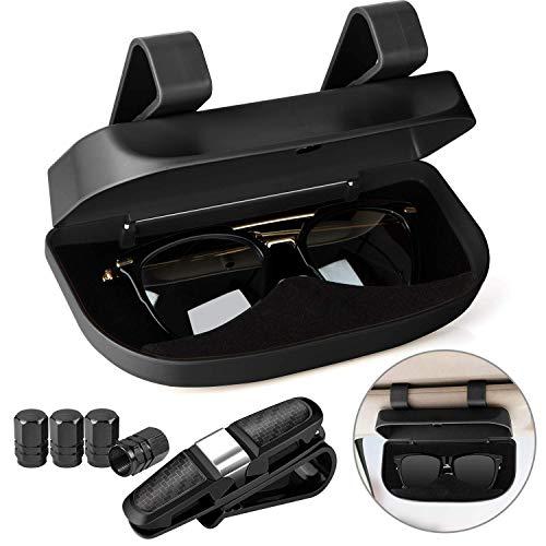 Homesprit Car Sun Visor Glasses Case Holder Clip with Magnetic Closure and Double Snap Clip Design (Black)