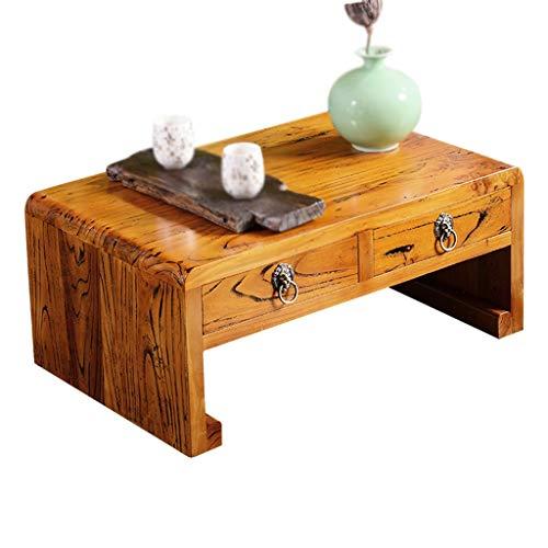 Couchtische alte Ulme mit Schublade Tee Tisch Massivholz kleinen Erker Tisch Grube Tisch Tatami niedrigen Tisch Kaffeetische (Color : Brown, Size : 70 * 45 * 30cm)