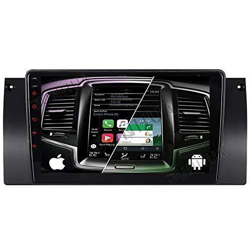 Autoradio Android 10.0 avec système Android 2 Go + 32 Go Double tuner Bluetooth 5.0 Rohm-DSP GPS pour BMW Série 5 E39 E38 X5 E53 530 740 DAB+ WiFi 4G-LTE USB SD Caisson de basses AV-Out